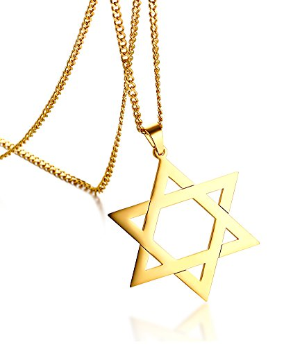 18k Two Tone Gold Pendant - Stainless Steel Megan Star of David Pendant Necklace Women Men Chain 18K Gold Plated Israel Necklace