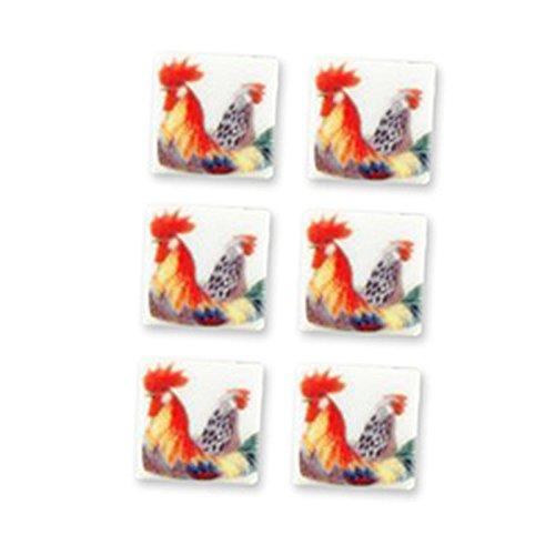 Dollhouse Miniature Set of 6 Rooster Tiles Tiles Dollhouse by Set Reutter Porcelain B01975M4Z2, リサイクルランド わくわく:ac0c31e8 --- malebeauty.xyz