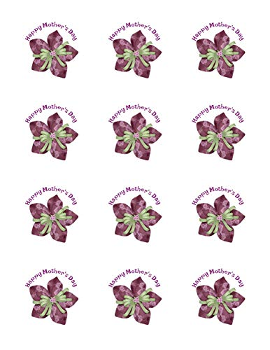 Happy Mothers Day Flowers - Edible Image Cupcake Toppers - Set of 12 Precut - 2 inch Round