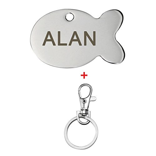 Custom Pet Anti-lost Engraved ID Tag Personalized Dog Cat Name Card - Engraved Fish