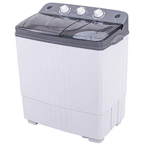Giantex Portable Mini Compact Twin Tub Washing Machine Washer Spain Spinner (16lbs- Gray+ White)