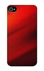Premium Qtxuok-3113-euqtkwd Case With Scratch-resistant/ Red Lines Over Honeycomb Pattern Case Cover For Iphone 5/5s