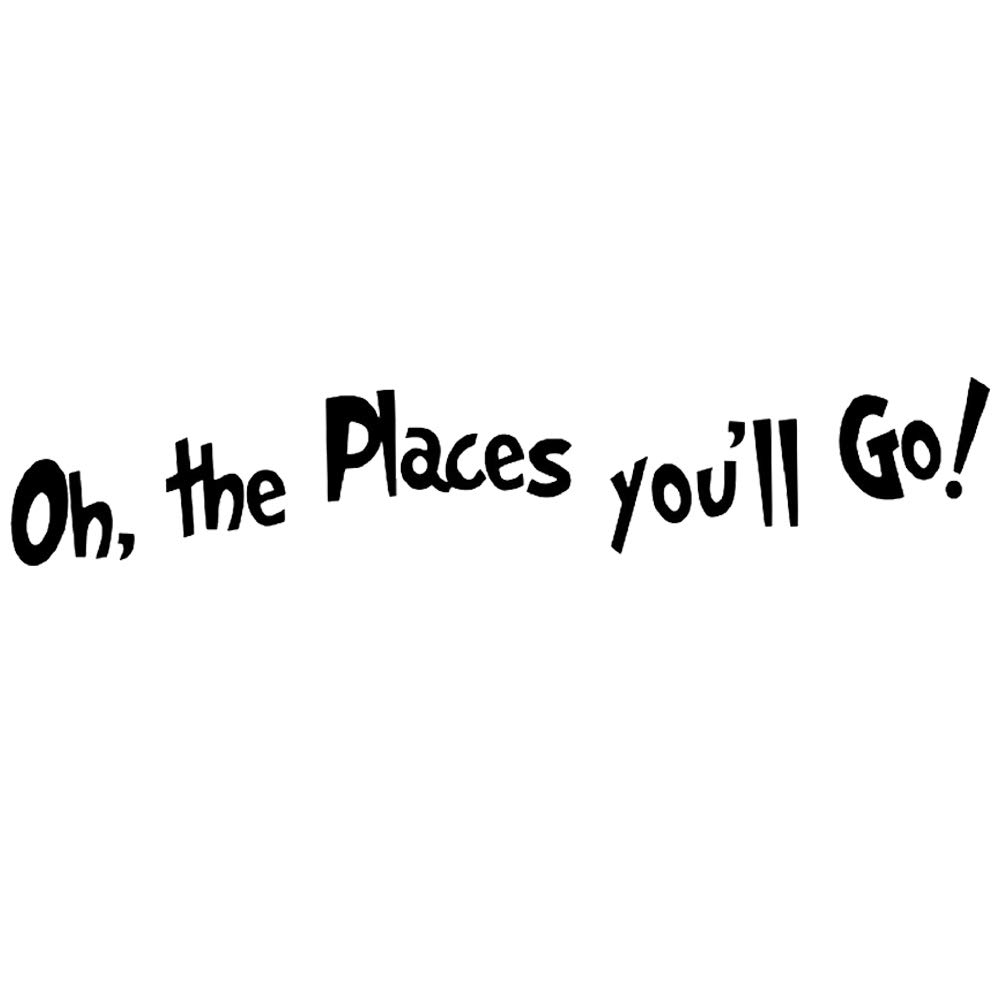 """DNVEN (35""""w x 6""""h) DIY Oh, the Places You'll Go Quotes Wall Decals Stickers Removable Vinyl Arts for Children's Day Bedrooms Family Playroom Classroom"""