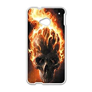 HTC One M7 Cell Phone Case White Skull AYG Plastic Clear Phone Cases