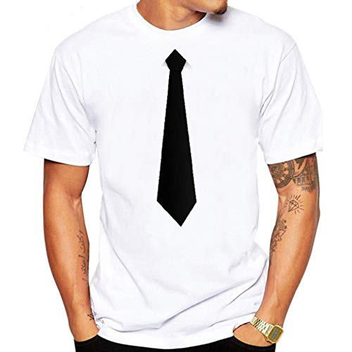 (Men's Summer New Fashionable T-Shirt with Interesting Tie Suit Top Loose-Fit Crewneck Short-Sleeve T-Shirts (M, White))