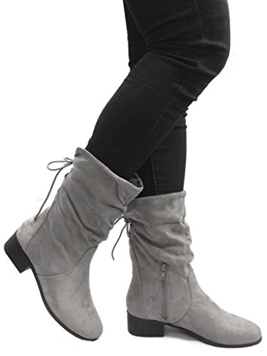 SODA Women's Slouchy Boot Round Toe Faux Suede,Grey,7.5 (Womens Ankle Slouch Boots)