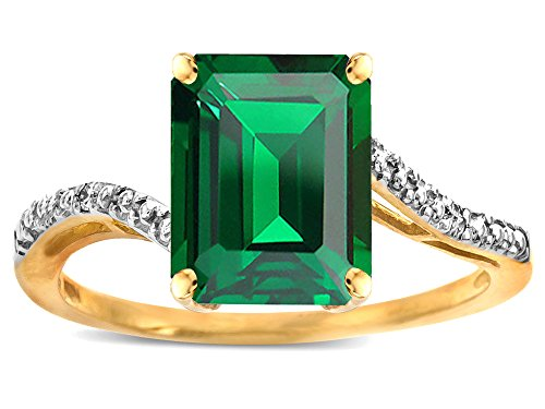 Star K Big Stone Octagon Emerald Cut 10x8 Simulated Emerald Bypass solitaire ring 14k Yellow Gold Size 6 14k Yellow Gold X Design