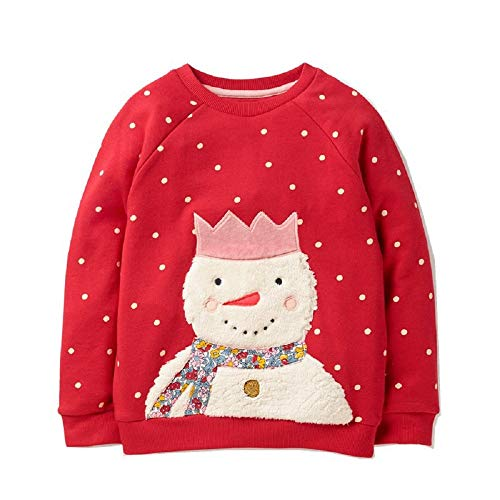 Hongshilian Unisex Kids Cute Cartoon Cotton Sweater Shirt (Snowman & Red,3T) from Hongshilian