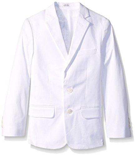 (Calvin Klein Big Boys' Fancy Twill Jacket, White, 12)
