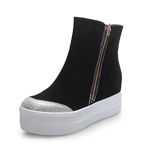 AmoonyFashion Womens Round-Toe Closed-Toe Kitten-Heels Boots With Slipping Sole and Heighten Inside Black