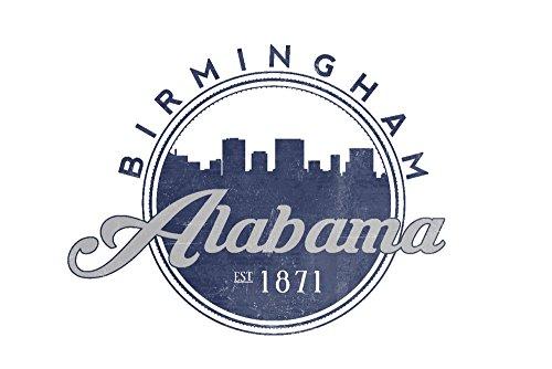 (Birmingham, Alabama - Skyline Seal (Blue) (16x24 Giclee Gallery Print, Wall Decor Travel Poster))