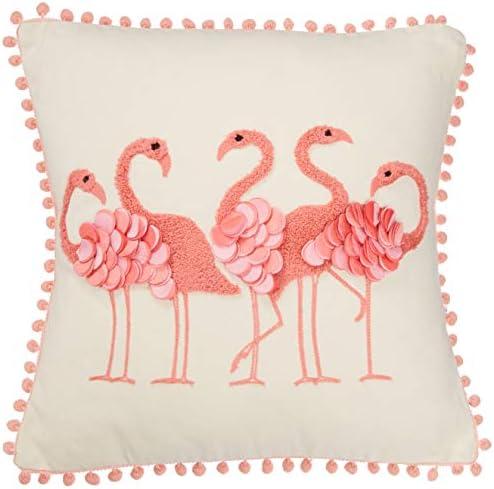 DEI Square Flamingo Pillow, 16 x16 , Multicolored