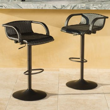 Portofino, Airlift Barstool 2- Pieces Espresso-colored Wicker, All-weather Woven Resin (Adjustable Resin)