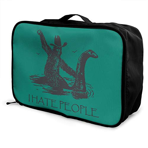 I Hate People Bigfoot Lightweight Large Capacity Portable Luggage Bag Fashion Travel Duffel Bag