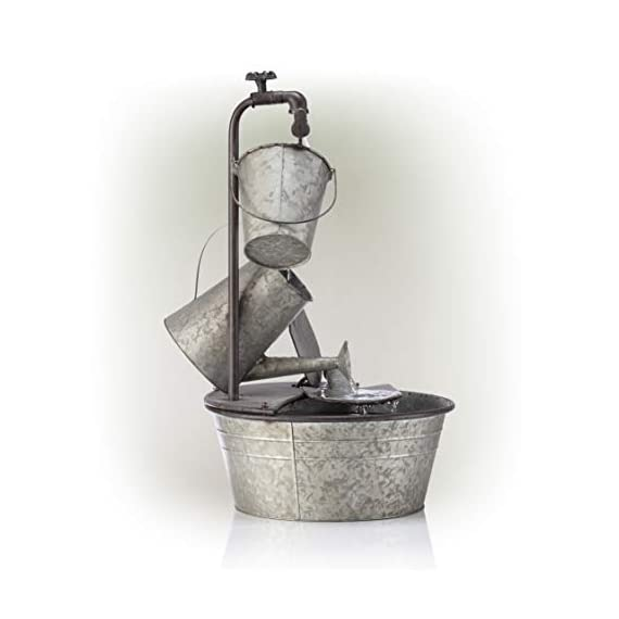 "Alpine Corporation 28"" Tall Outdoor 3-Tier Metal Garden Tools Water Fountain - GARDEN TOOL FOUNTAIN: Garden water fountain features various familiar tools and a bird figurine — the perfect addition to your outdoor décor. Interior pump keeps the water flowing — just plug it in! RELAXING WATER FLOW: Water trickles from the pump spout into the buckets and can, adding a peaceful ambiance to your outdoor setting RUSTIC LOOK: Realistic iron garden tools and pump head design for an old-fashioned farmhouse feel - patio, outdoor-decor, fountains - 41h3ejOaXsL. SS570  -"