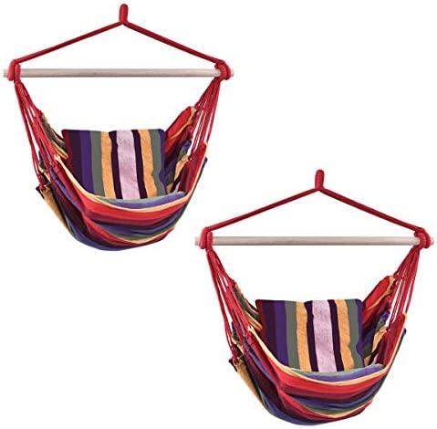 Giantex Hammock Swing, Hanging Rope Hammock Chair with 2 Cushions for Patio Porch Yard Tree C Hammock Stand, Cotton Hanging Air Swing 2, Red Multicolor Stripes