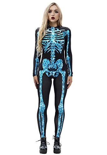 URVIP Women Halloween Skeleton Costume Stretch Skinny Catsuit Jumpsuit Bodysuit BAX-011 XL