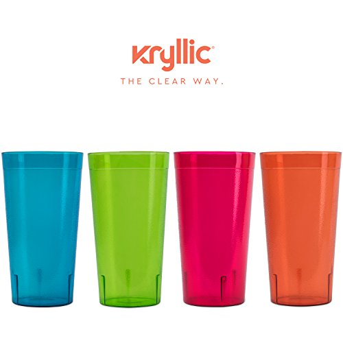 Plastic Tumblers Drinkware Glasses Cups - Acrylic Tumbler Set of 4 Break Resistant 20 oz. in 4 Assorted Colors Restaurant Quality Tumblers Dishwasher Safe and BPA Free by Kryllic