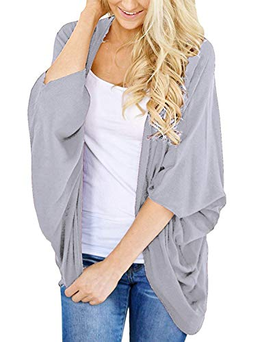 - Women's Autumn Solid Color Kimono Cardigan Loose Sleeves Open Front Cover Up for Women XX-Large