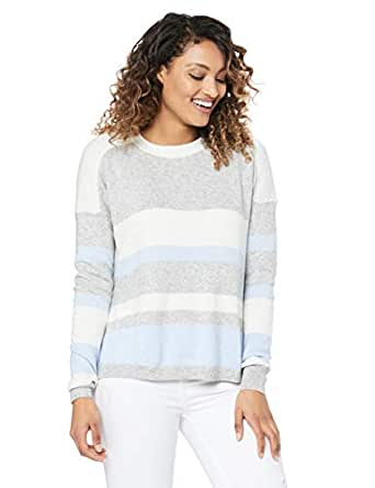 French Connection Women's Varsity Stripe Knit, Soft Blue Multi, Extra Small
