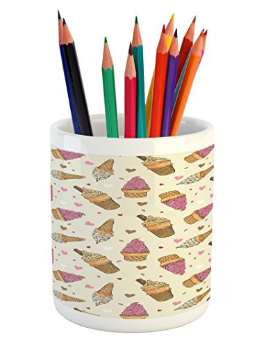 Lunarable Ice Cream Pencil Pen Holder, Delicious Refreshing Snacks for Children with Colorful Hearts Dots Dairy Product…