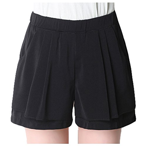 Shorts donna estivi elastica Pantaloni Sidiou vita estivi spiaggia in casual Lady Pantaloncini Beach Fashion Nero Group Pantaloncini in chiffon da 5wqB8Iq