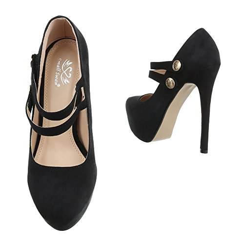 Damen Pumps Schuhe High Heels Stöckelschuhe Stiletto Plateau Schwarz Beige Blau Rot 36 37 38 39 40 Schwarz
