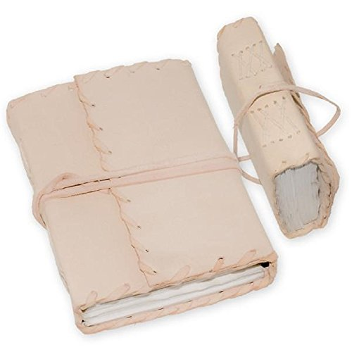 Medieval Renaissance Handmade Leather Diary Journal Thought Book (White)
