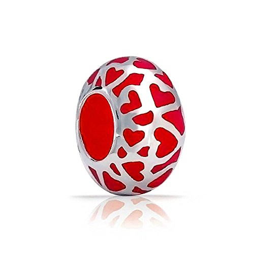 Cut Out Heart Charm (Bling Jewelry Red Enamel Open Love Cut Out Heart Charm Bead .925 Sterling Silver)