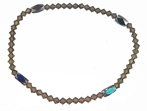 Sparkly Smoky Grey Brown Crystal & Rainbow Beads Stretch 9