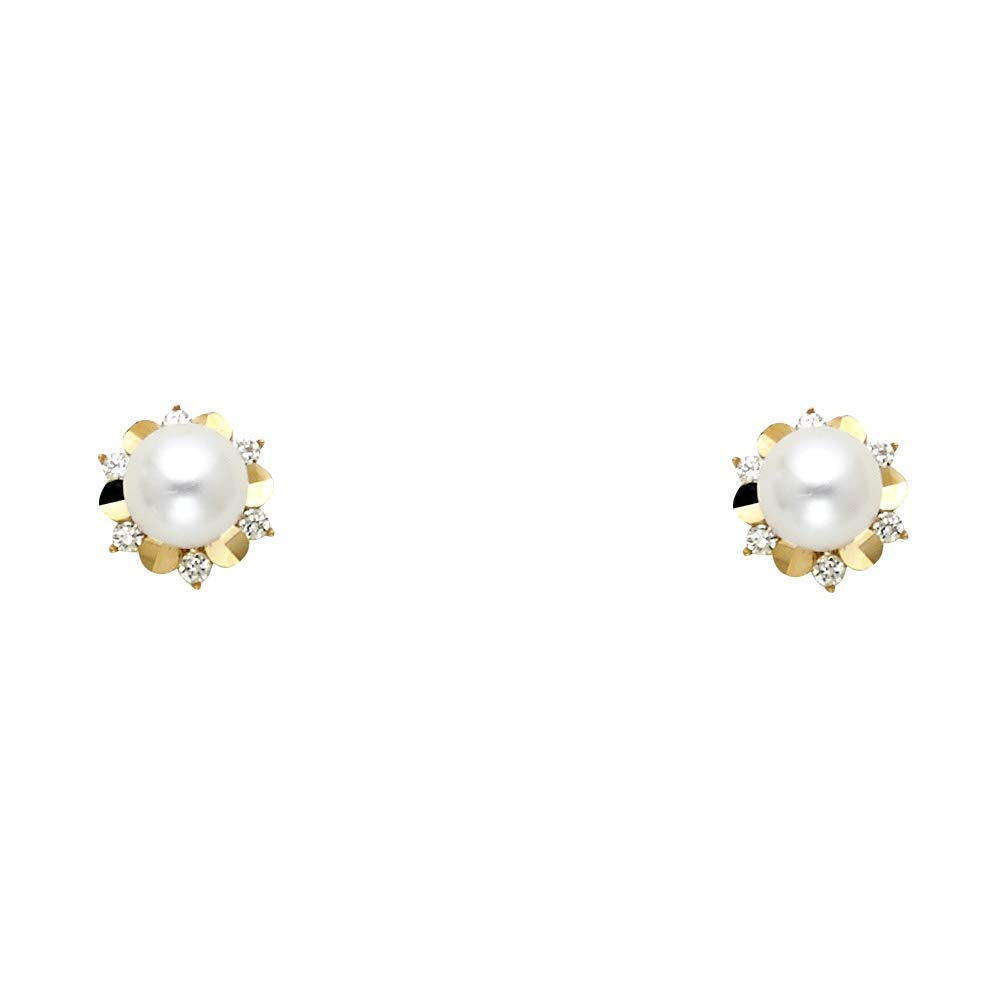Wellingsale 14K Yellow Gold Polished Freshwater Cultured Pearl Stud Earrings With Screw Back