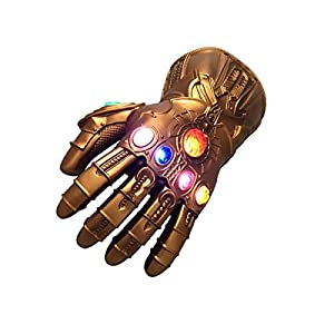 Kids Infinity Gauntlet Portable Electronic Arm LED Light PVC Gloves Toys Gift for Halloween Carnival Party Gold