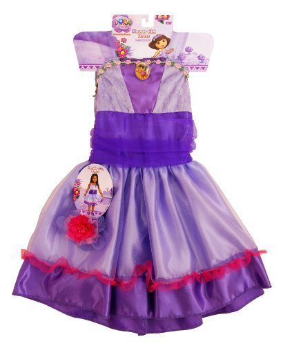 Dora Boots Halloween Costume (Dora the Explorer Flower Girl Dress with Bonus Bracelet, Fits Size 2-4t)