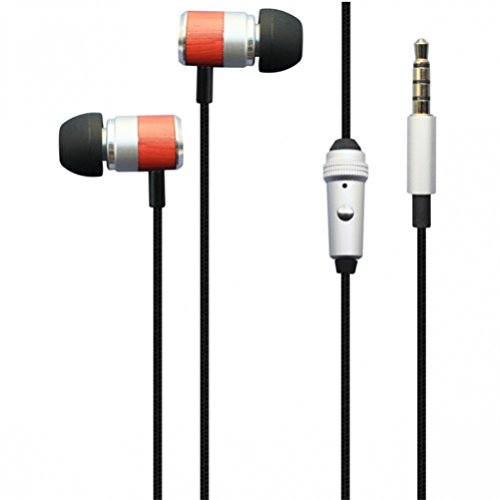 3.5mm Universal High Quality Sound Headset with Wood Trim Braided Cable for Net10, Straight Talk, Tracfone ZTE Majesty, Solar, Nubia Mini, Avail 2, ZTE Prelude, Zephyr, Z998, Quartz, Paragon, Lever by SNHDIGITAL