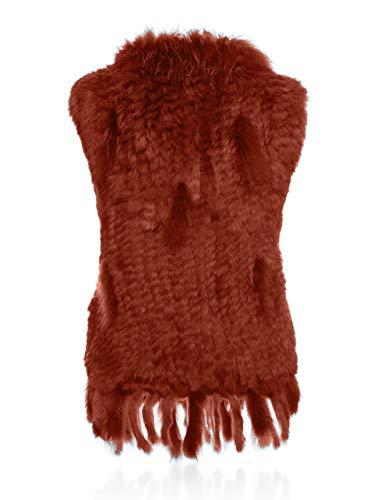 pelliccia Soft HEIZZI della con maglia Raccoon Rosso 100 Elegante in coniglio collo del arancio EEpPAxq