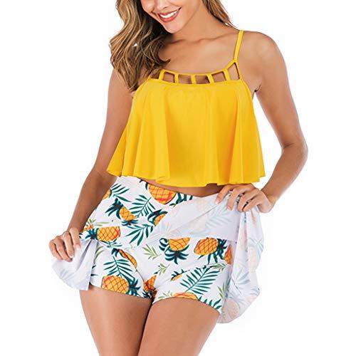 liberalism Women Tankini Set with Pantskirt Bikini Swimwear Push Up Padded Bra Womens Swimming tankiny Swimsuit Maillot(L,Yellow)