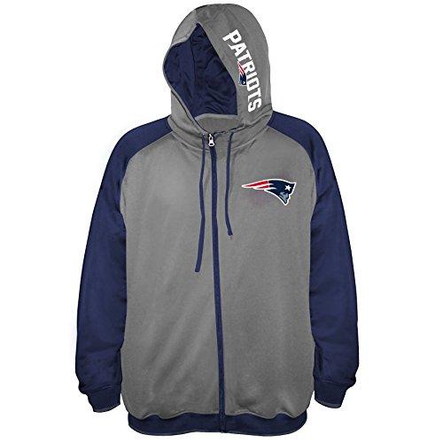 (NFL New England Patriots Men FULL ZIP POLY FLEECE RAGLAN, CHARCOAL/NAVY, 4X)