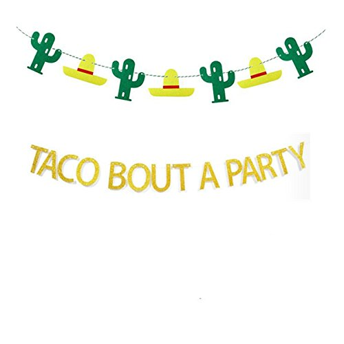Taco Bout A Party Banner, Gold Glitter Mexican Fiesta Themed Bachelorette Birthday Party Baby Shower Decorations Supplies