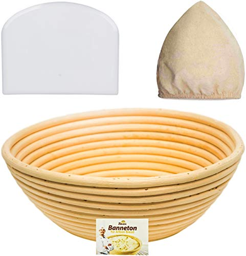 9 Inch Bread Banneton Proofing Basket - Baking Bowl Dough Gifts for Bakers Proving Baskets for Sourdough Lame Bread Slashing Scraper Tool Starter Jar Proofing Box ()