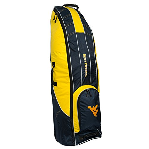 Team Golf NCAA West Virginia Mountaineers Travel Golf Bag, High-Impact Plastic Wheelbase, Smooth & Quite Transport, Includes Built-in Shoe Bag, Internal Padding, & ID Card Holder