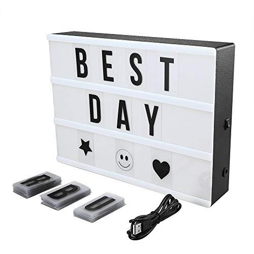 Cinema Light Box Super Perfect DIY LED Cinematic Light Up Box with Decorative 90 Letters Numbers Symbols for Festival/Birthday/Anniversary/Wedding/Mottoes [A4 Size, White] -