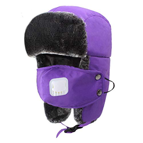 Crytech Unisex Winter Ski Bomber Hat, Windproof Breathable Warm Trapper Cap with Earflap Mask Ushanka Russian Trooper Ski Hat Snow Aviator Hat for Women Men Hunting Skiing Skating (Purple)
