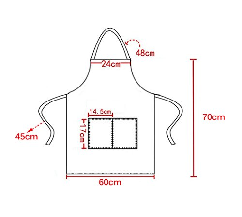 TSD STORY Total 12 PCS Plain Color Bib Apron Adult with 2 Front Pocket (Black) by TSD STORY (Image #2)