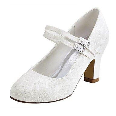 RTRY Las Mujeres'S Wedding Shoes Bomba Básica De Satén Stretch Primavera Otoño Boda &Amp; Noche Crystal Chunky Talón Blanco Marfil 2A-2 3/4 Pulg. US9.5-10 / EU41 / UK7.5-8 / CN42