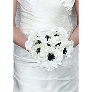 """Floral Home Soft Touch Anemone Bouquet in White with Black Centers - 10"""" Tall 118"""