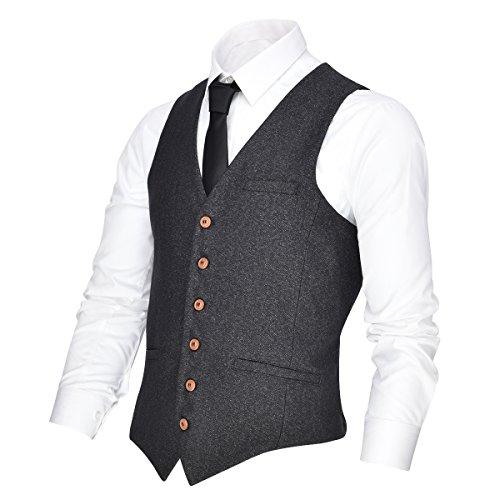 (VOBOOM Men's V-Neck Suit Vest Casual Slim Fit Dress 6 Button Vest Waistcoat (Grey, XXL) )