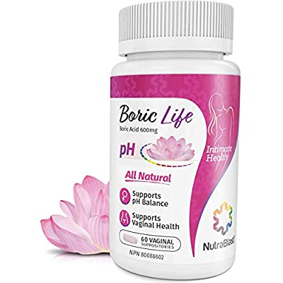NutraBlast Boric Acid Vaginal Suppositories - 100% Pure Made in USA - Boric Life Intimate Health Support