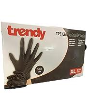 TPE wegwerphandschoenen zwart inhoud 100 stuks poedervrij latexvrij