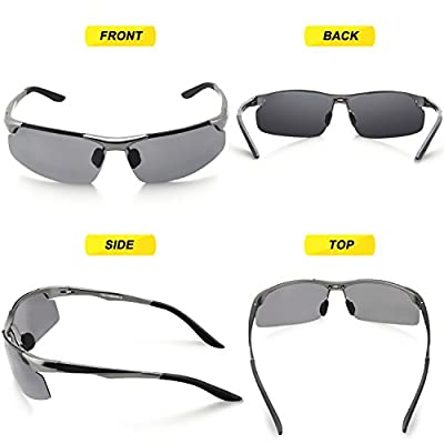 TOREGE Men's Sports Style Polarized Sunglasses Al-Mg Metal Frame Glasses M291