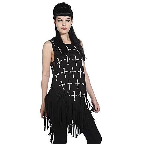 Banned femme-croix-long top t-shirt fringe
